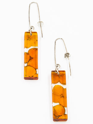 Sue Gregor Orange Hydrangea Rectangle Earrings