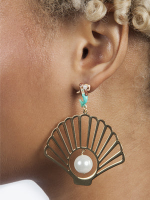 N2 Large Mermaid Seashell Earrings