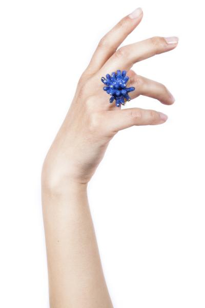 Iris Blue Reef Ring | Coral Statement Ring by Aisegul Telli Turkey