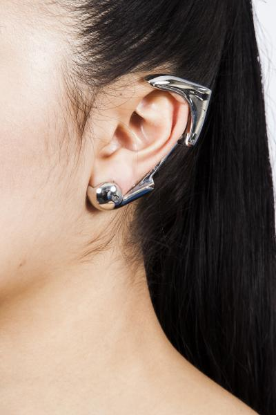 Silver Cyborg Sculpture Earrings