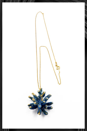 Cobalt Butterfly Coral Pendant Necklace