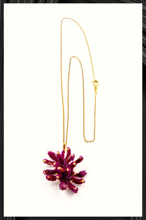 Red Butterfly Coral Pendant Necklace