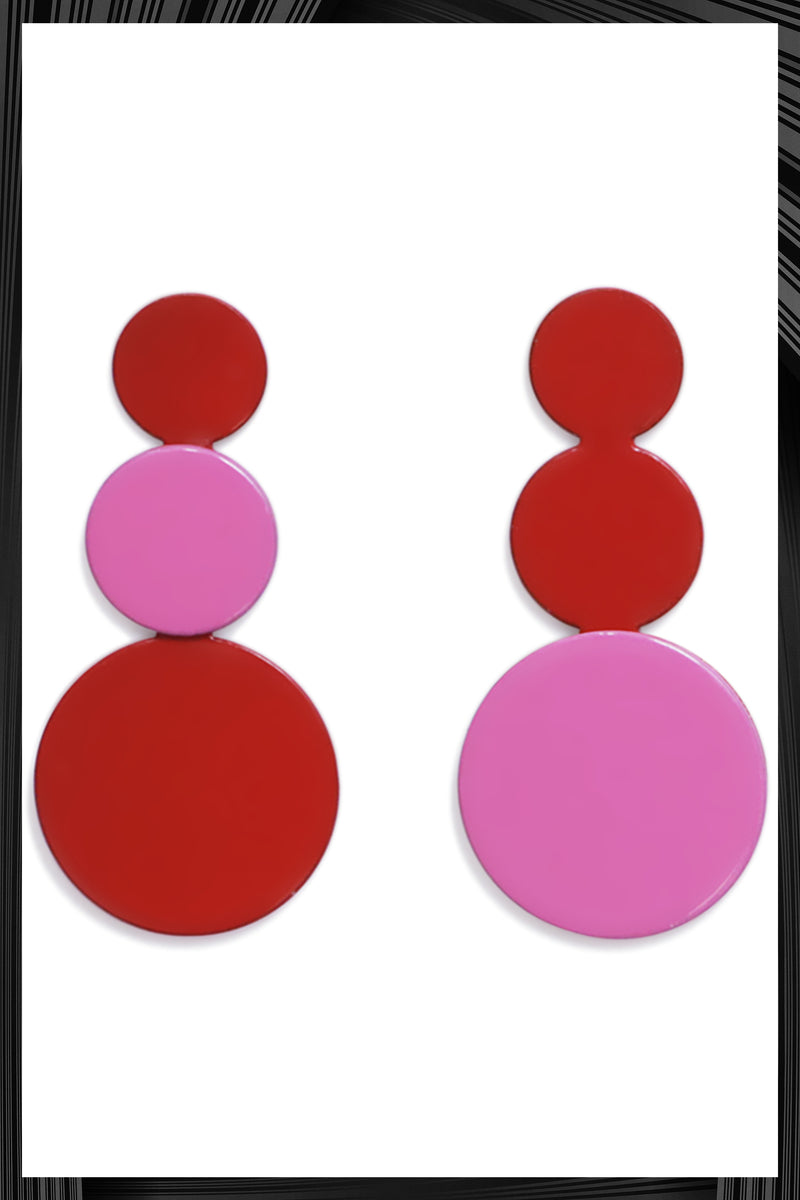 Red and Pink Cluster Earrings
