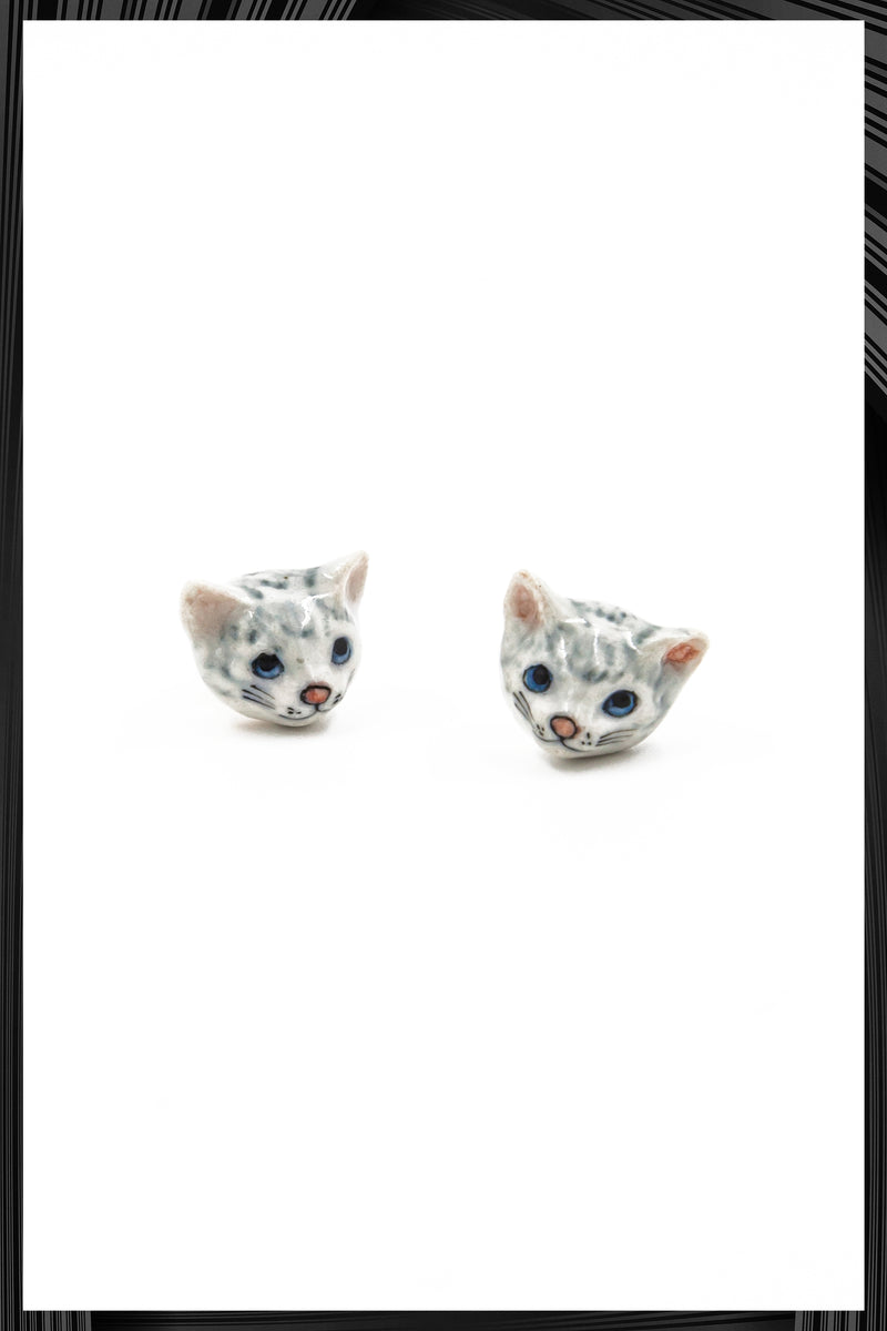 Gray Cat Head Earrings