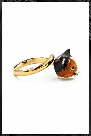 Calico Cat Gold Ring