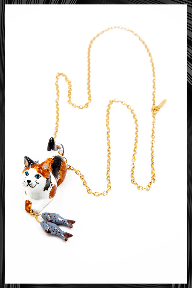 Calico Cat and Fish Necklace - Only 1 Left!