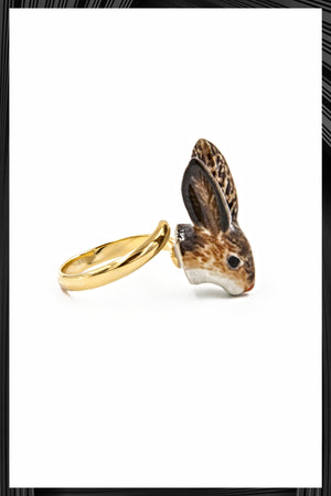 Brown Rabbit Gold Ring