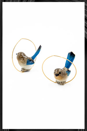 Blue Robin Hoops