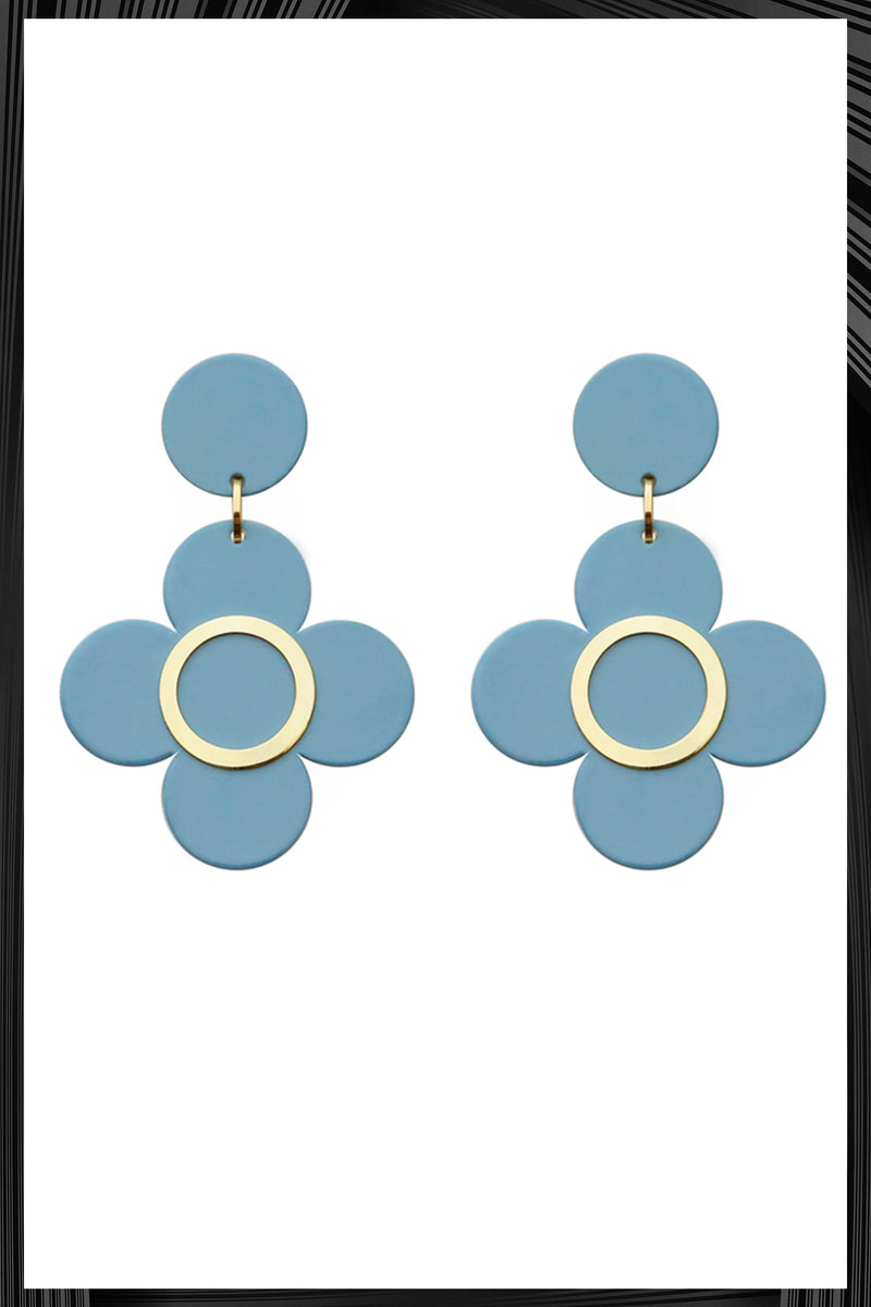 Light Blue Clover Earrings