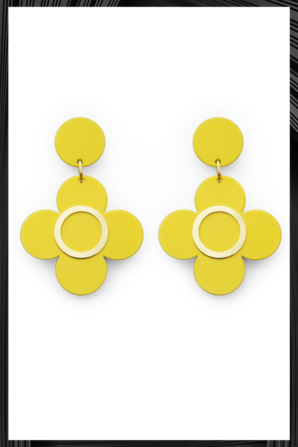 Yellow Clover Earrings