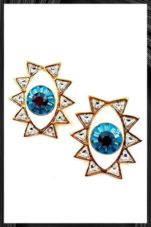 Golden Evil Eye Post Earrings