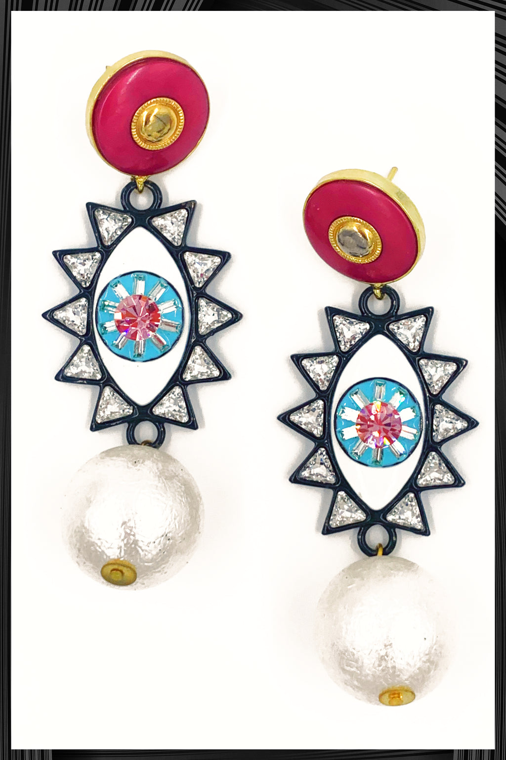 Pink Evil Eye Earrings