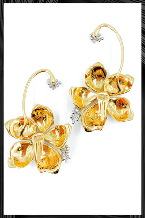 Gold Guillermina Flower Clip Earrings