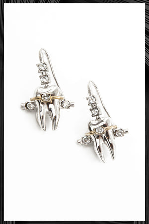 Teeth Brackets Silver Earrings