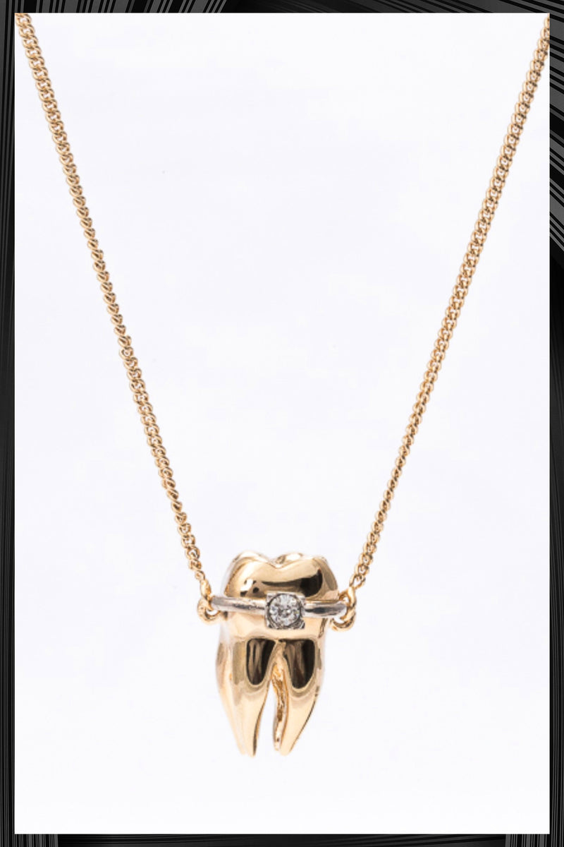 Gold Teeth Pendant Necklace