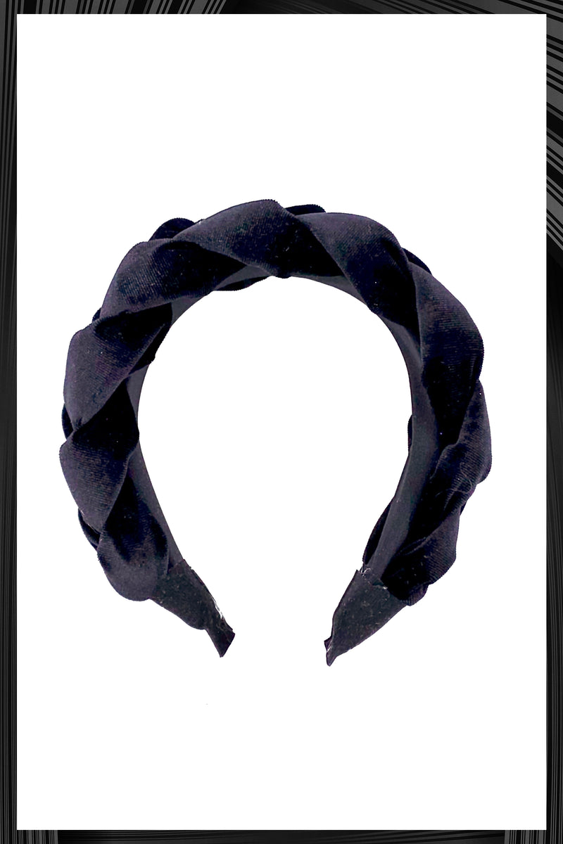 Black Velvet Braided Headband