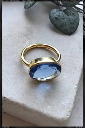 Chunky Oval Deep Blue Ring | Free Delivery - Quick Shipping