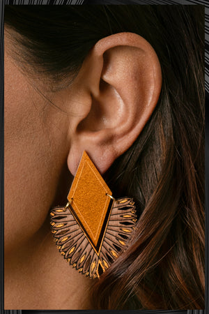 Orange Glitter Veda Earrings | Free Delivery - 2-3 Week Shipping