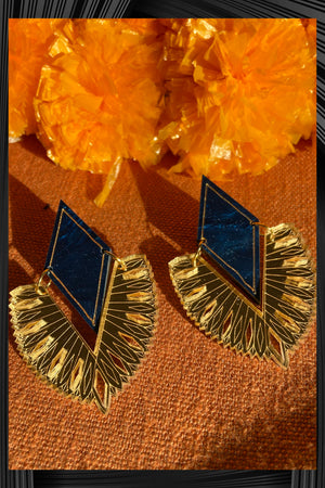 Blue Marbled Veda Earrings  | Free Delivery - 2-3 Weeks Shipping