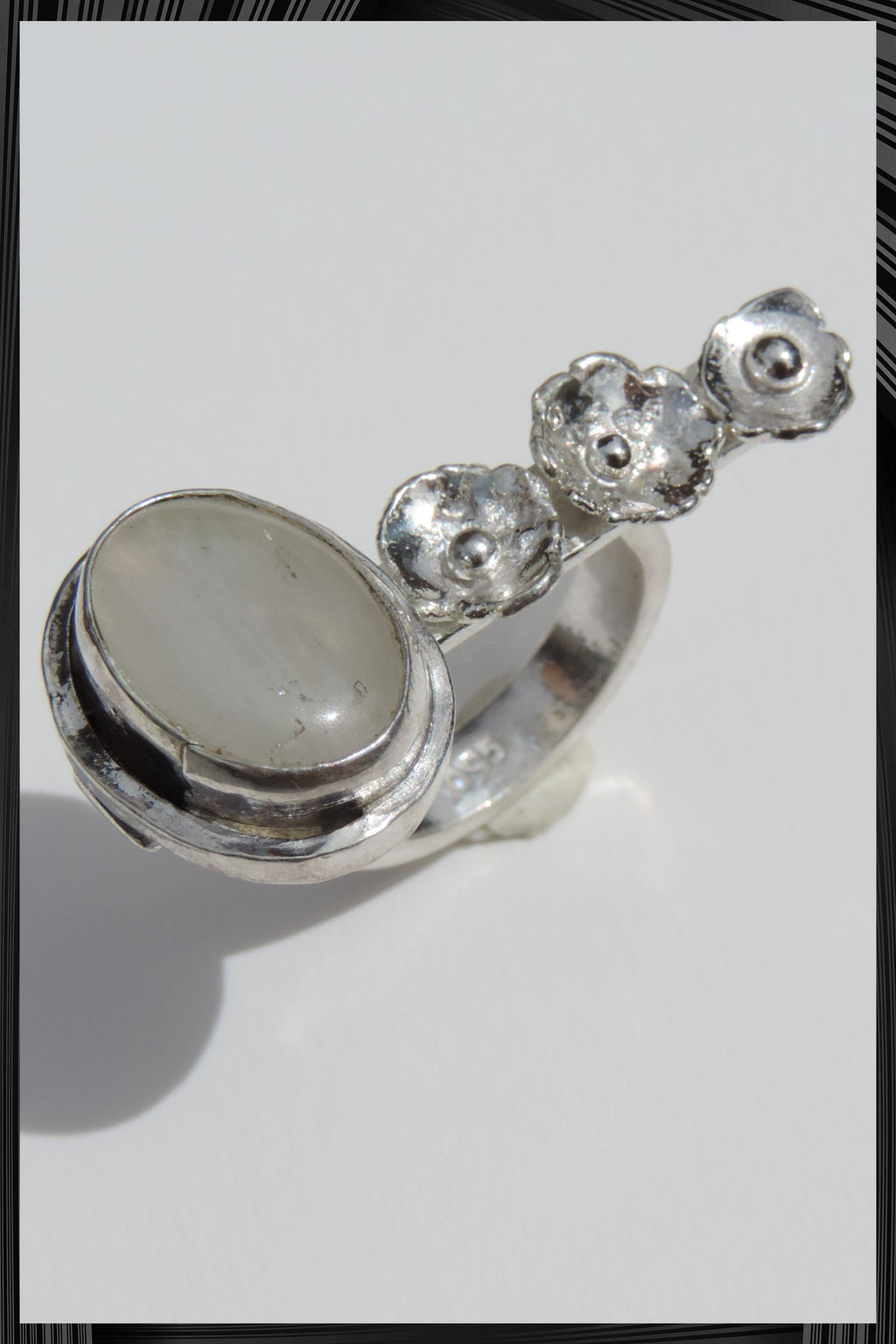 Moonstone and Flower Ring