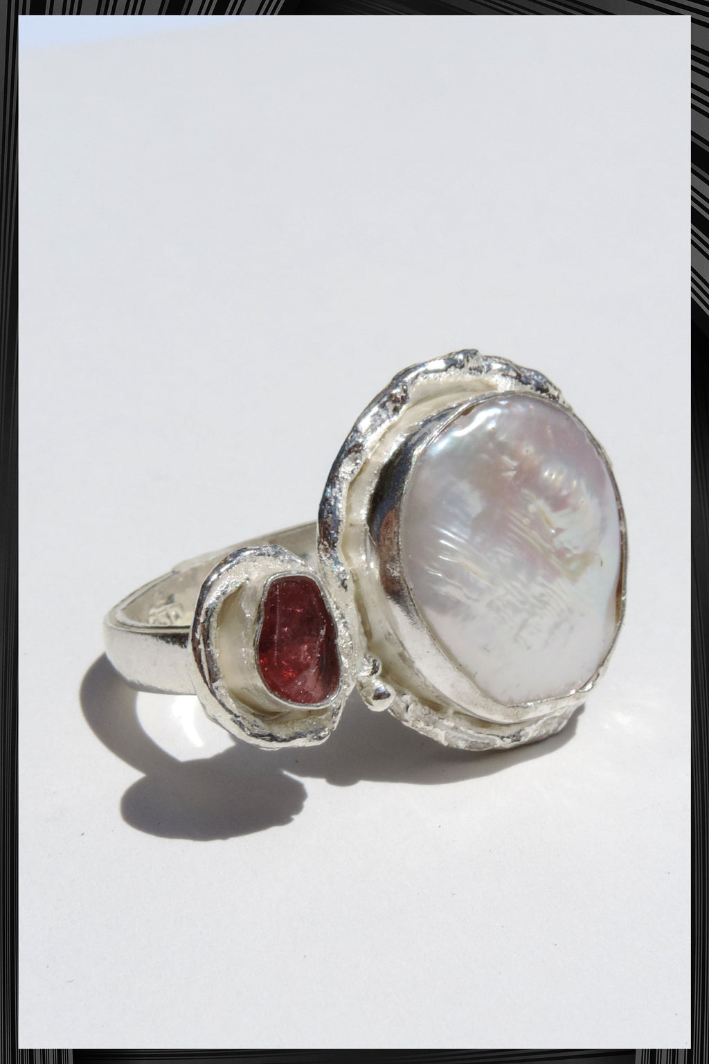 The Pearl and Garnet Ring | Free Delivery - 2-3 Weeks Shipping