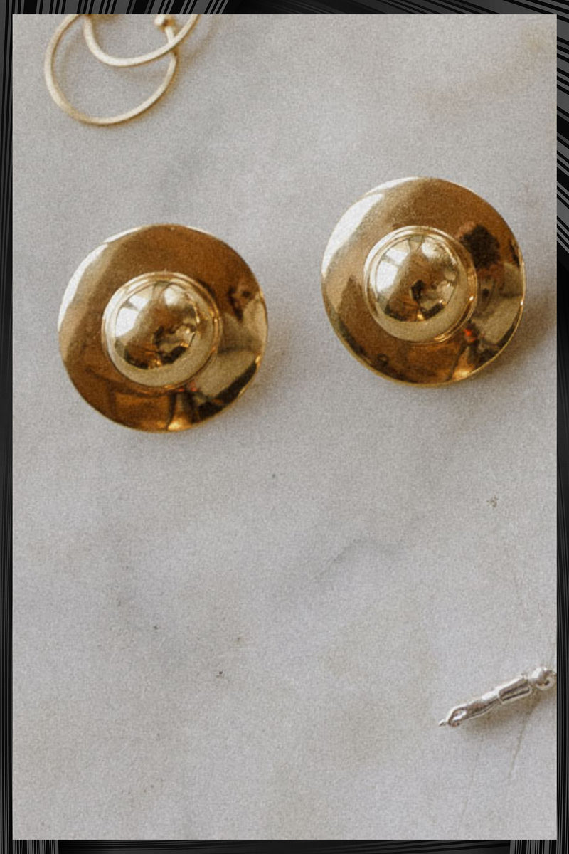 Gold UFO Earrings