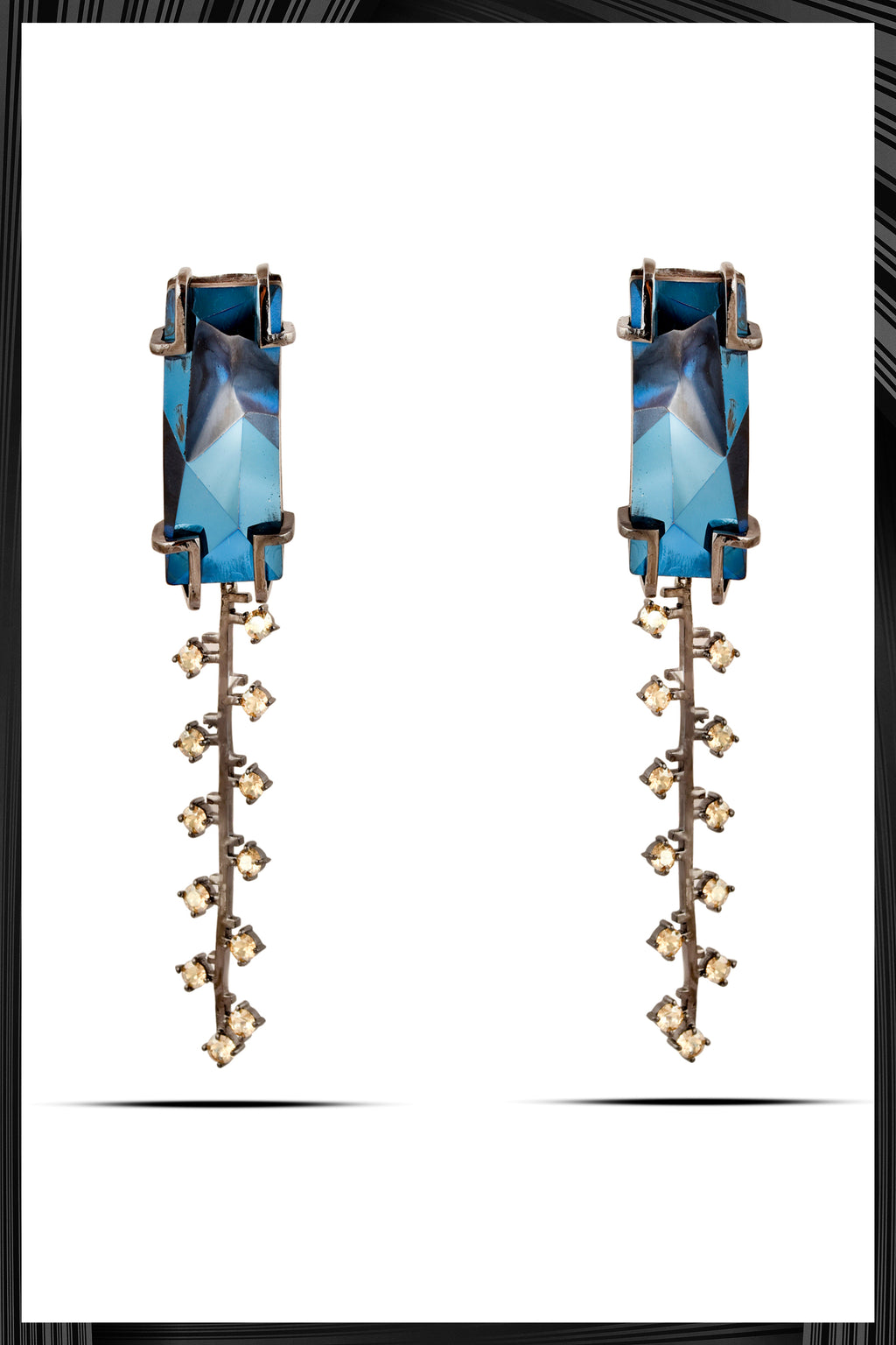 Blue Fulgor Zip Earrings