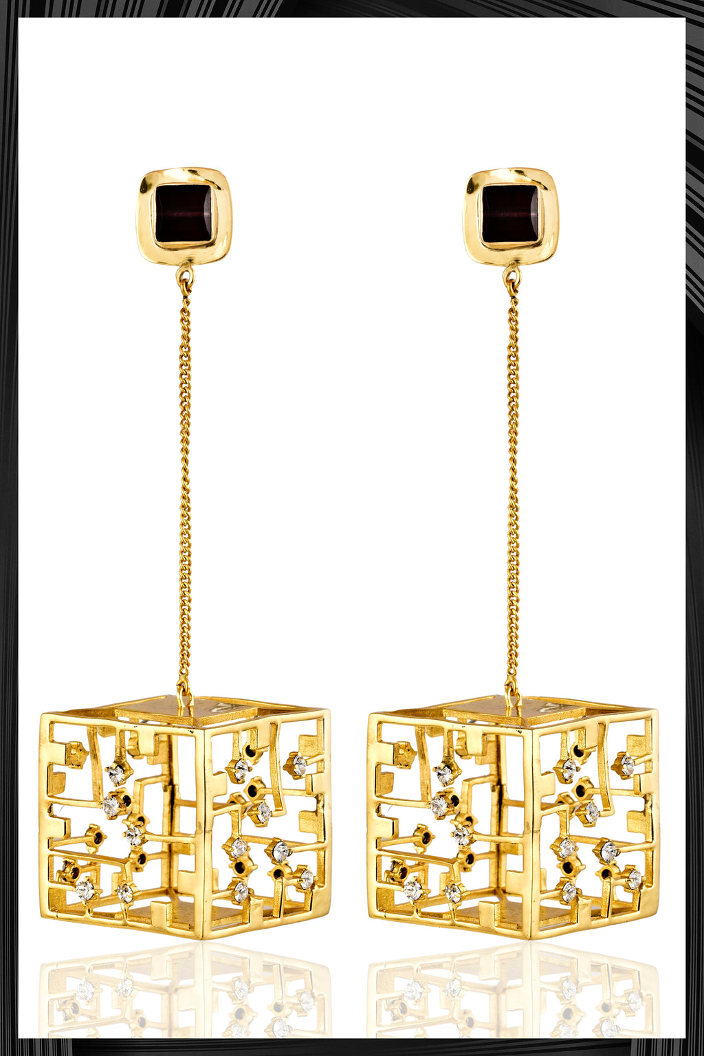 Gold Cube Earrings | Free Delivery - 1-2 Week Shipping