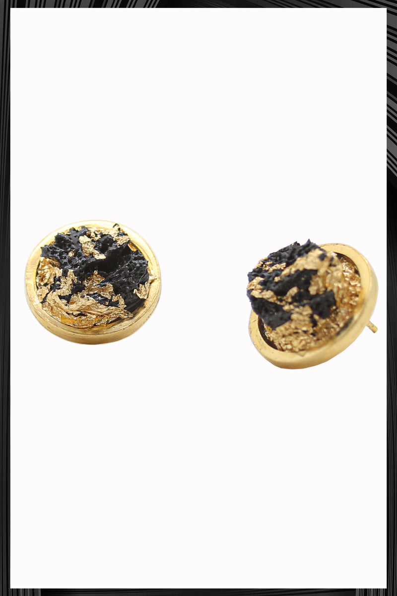 Black & Gold Leaf Button Earrings | Free Delivery - Quick Shipping