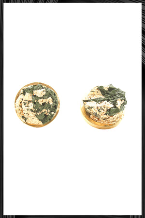 Green & Gold Leaf Button Earrings