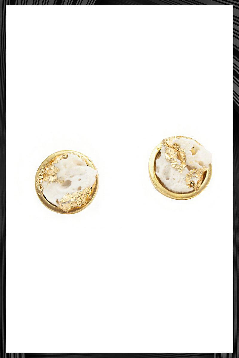White & Gold Leaf Button Earrings