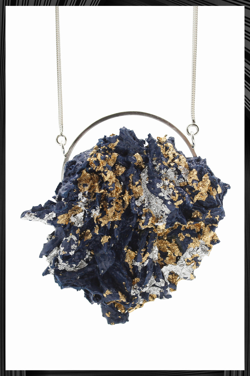 Blue Gold & Silver Leaf XL Necklace | Free Delivery - Quick Shipping