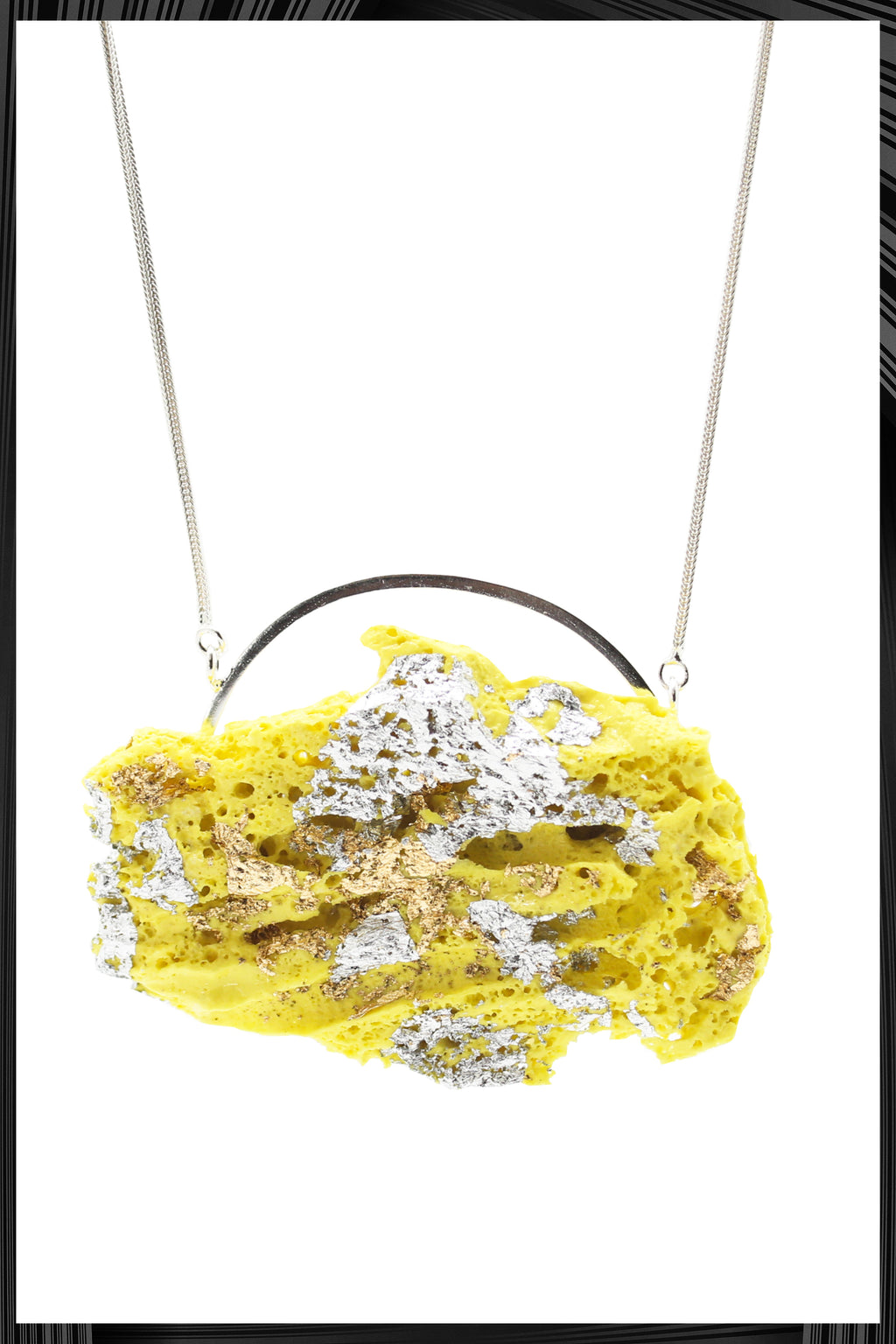 Yellow & Silver Leaf XL Necklace | Free Delivery - Quick Shipping