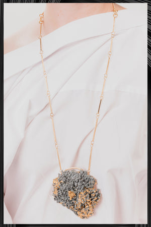 Gray XL Gold Leaf Necklace