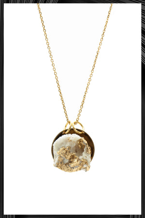 White & Gold Leaf Pendant Necklace