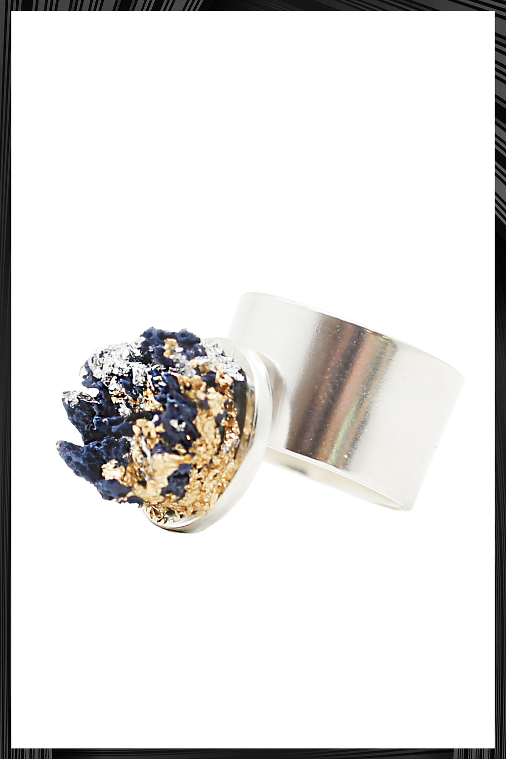 Blue & Gold Leaf Silver Band Ring | Free Delivery - Quick Shipping