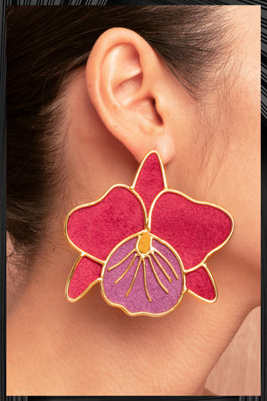 Magenta Cattleya Orchid Earrings  | Free Delivery - 3 Week Shipping