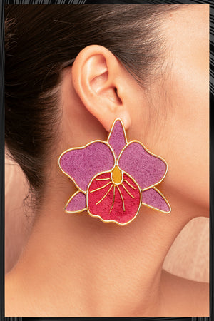 Purple Cattleya Orchid Earrings  | Free Delivery - 3 Week Shipping