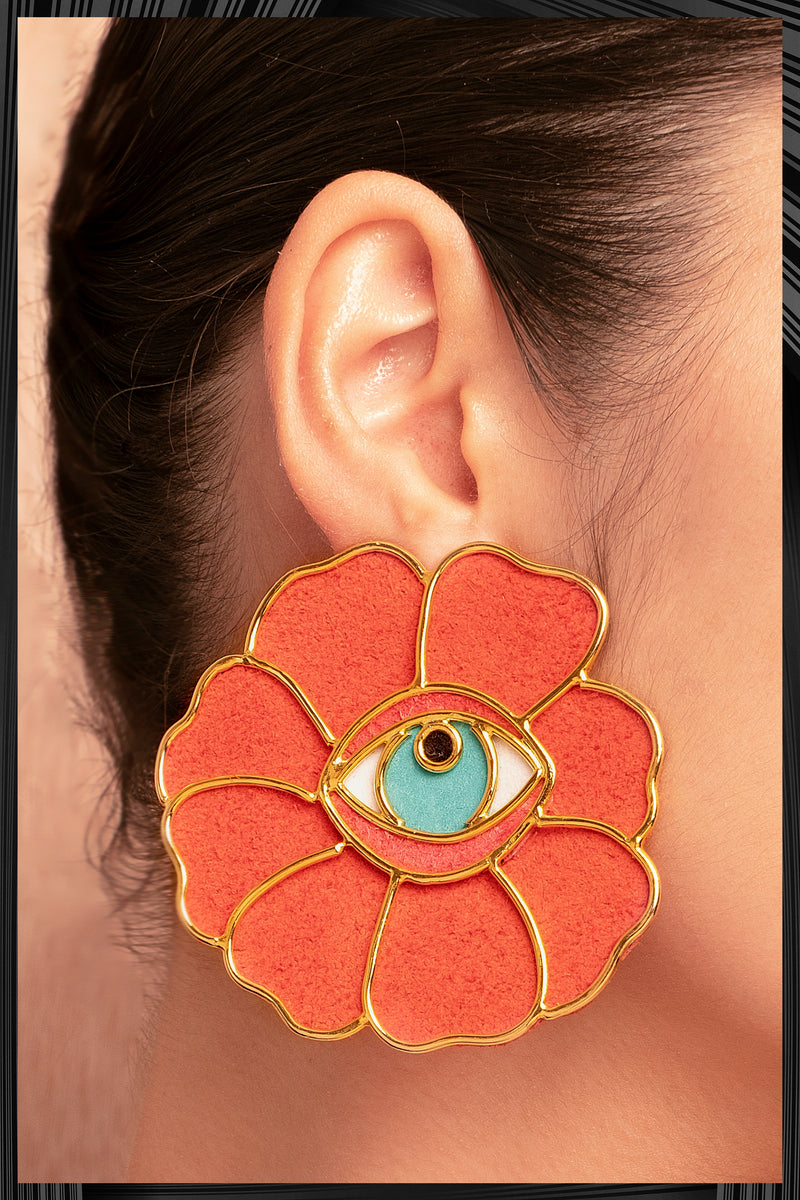 Orange Flower Eye Earrings