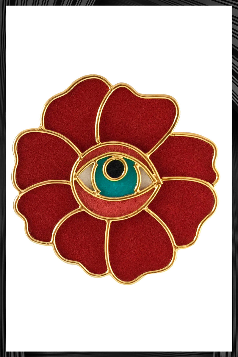 Red Flower Eye Earrings  | Free Delivery - 3 Week Shipping