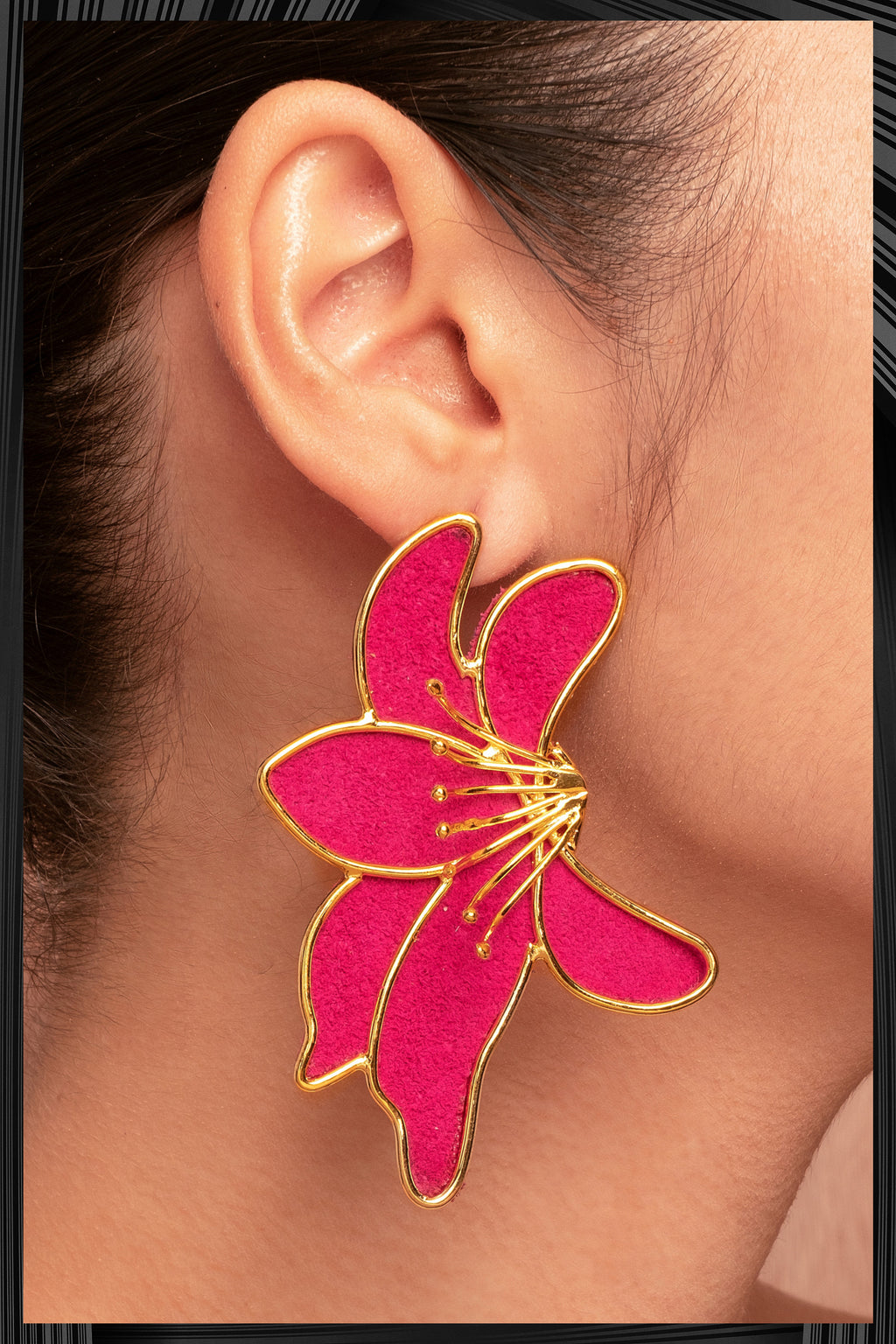 Lirios Fuchsia Earrings  | Free Delivery - 3 Week Shipping