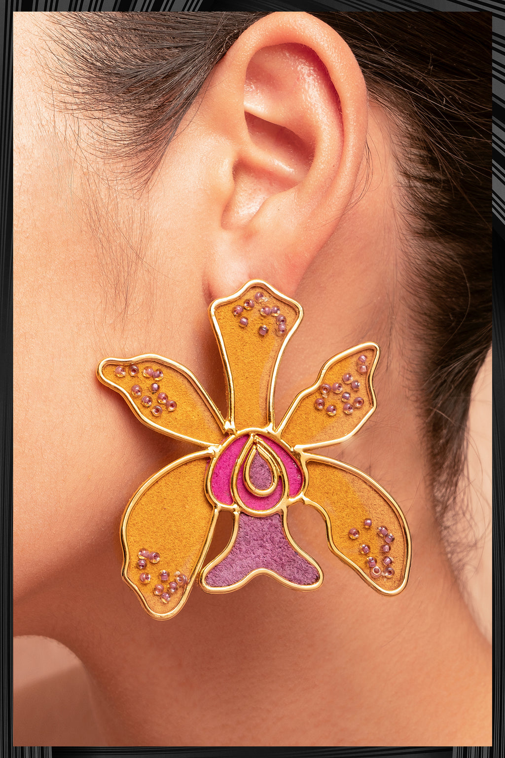 Golden Ocidium Orchid Earrings | Free Delivery - 3 Week Shipping