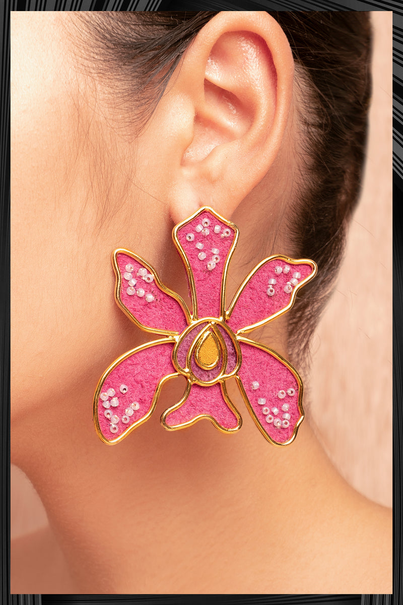 Violet Oncidium Orchid Earrings | Free Delivery - 3 Week Shipping