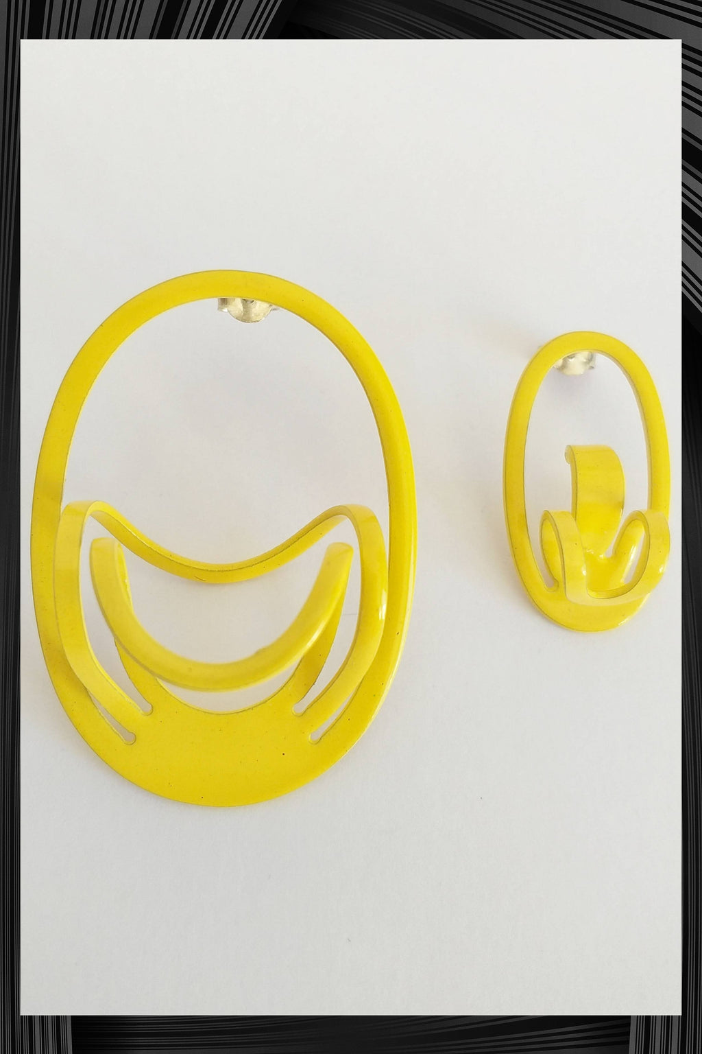 Yellow D Asymmetric Earrings | Quick Shipping