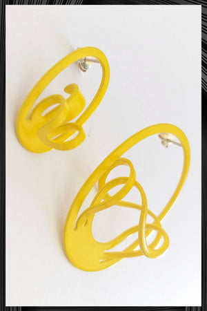 Yellow D Asymmetric Earrings