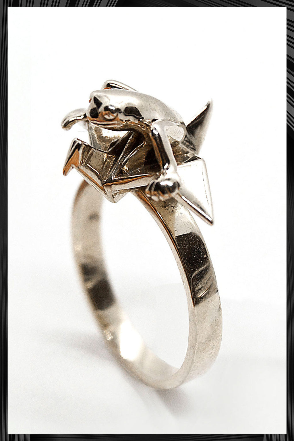 Origami Crane Frog Ring