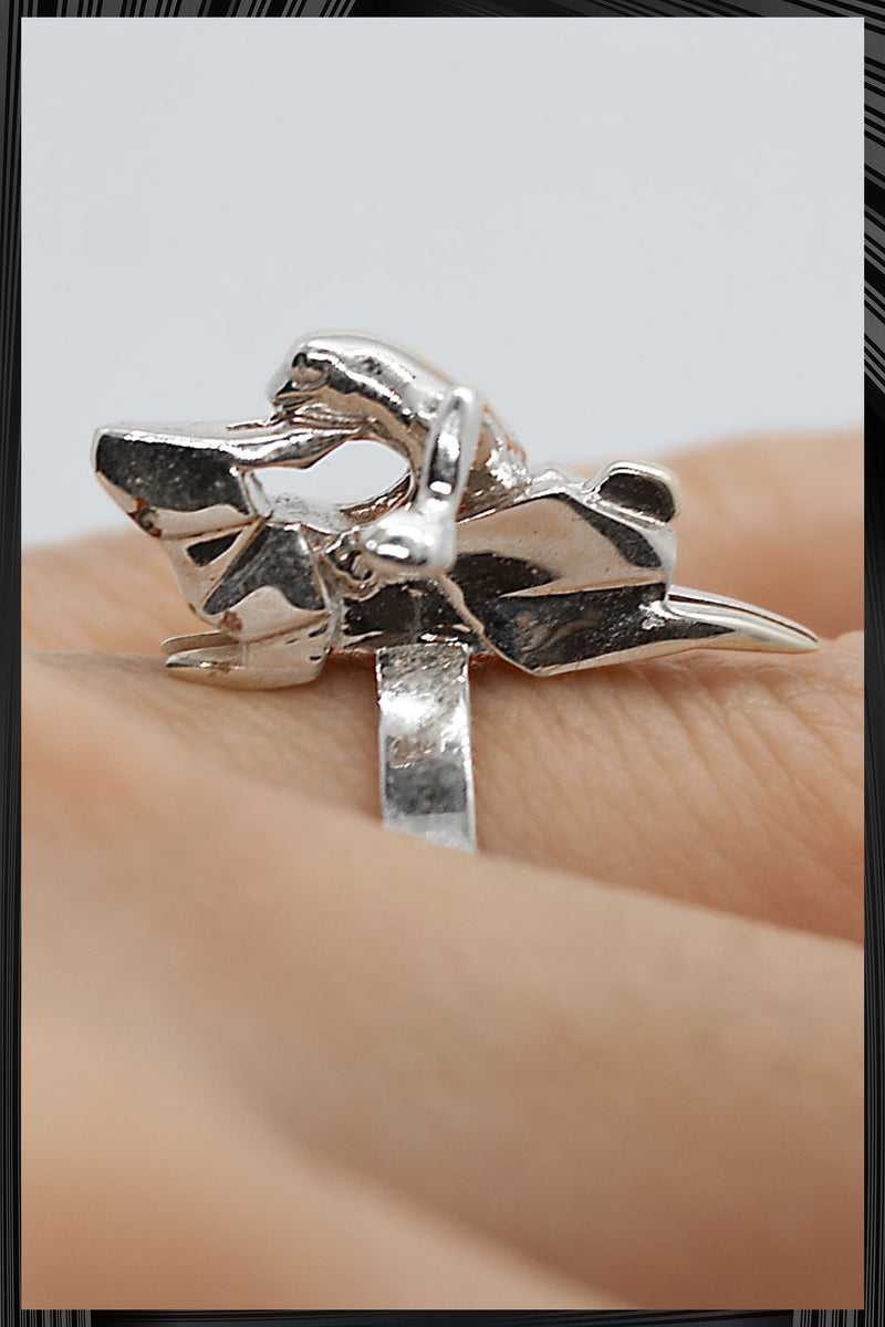 Origami Running Rabbit Frog Ring | Free Delivery - 2-3 Weeks Shipping
