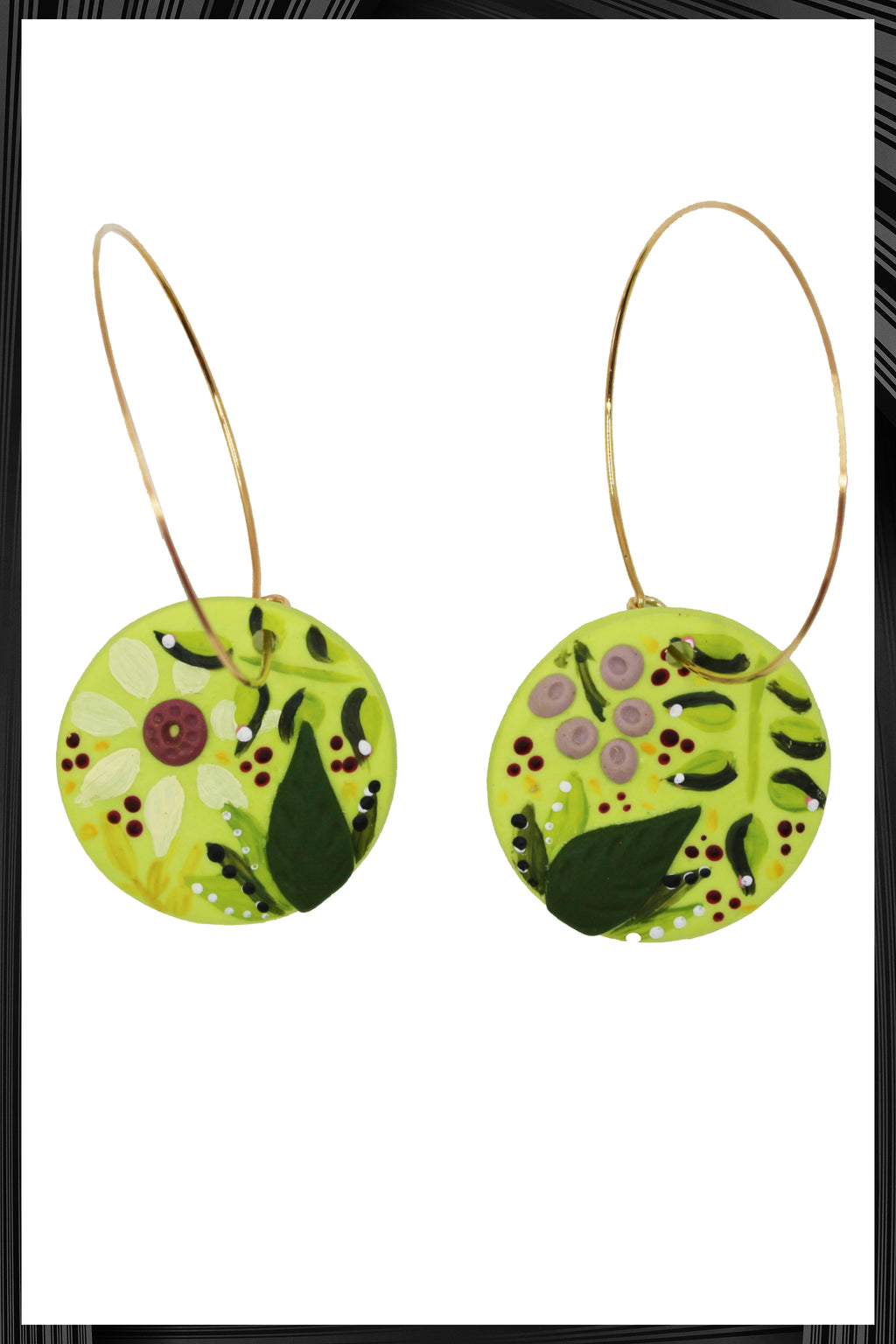 Wild Grass Floral Circle Hoop Earrings | Free Delivery - Quick Shipping