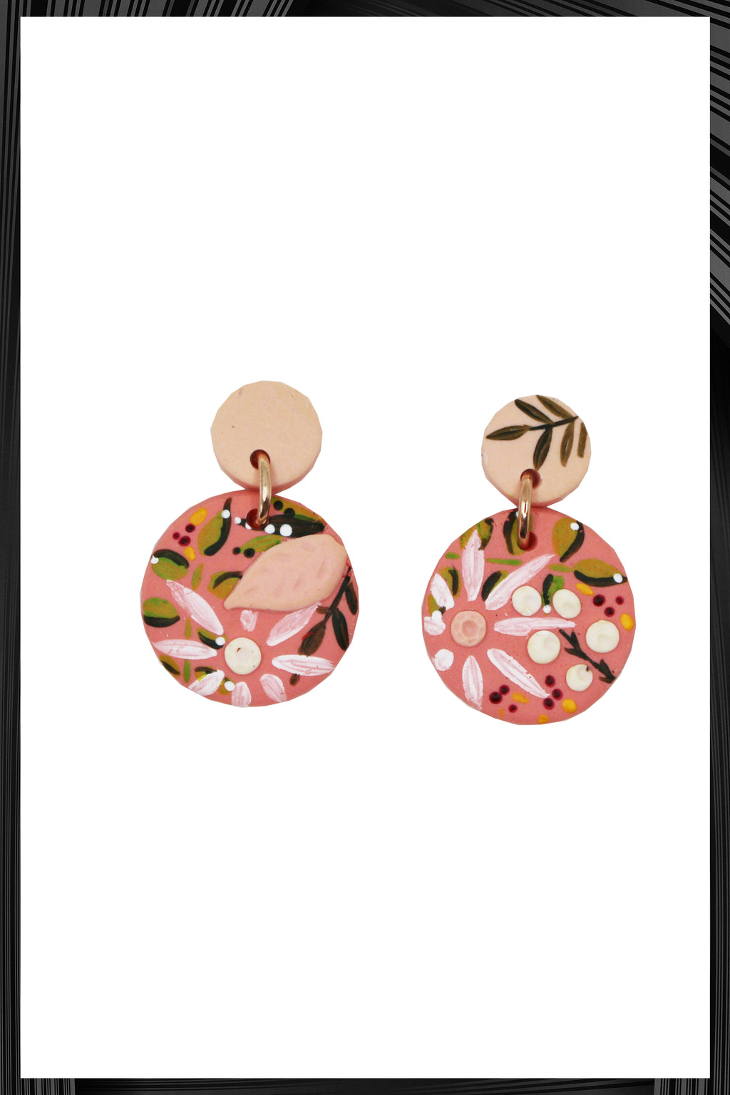 Pink & Terracotta Tiny Drop Earrings |  Quick Shipping
