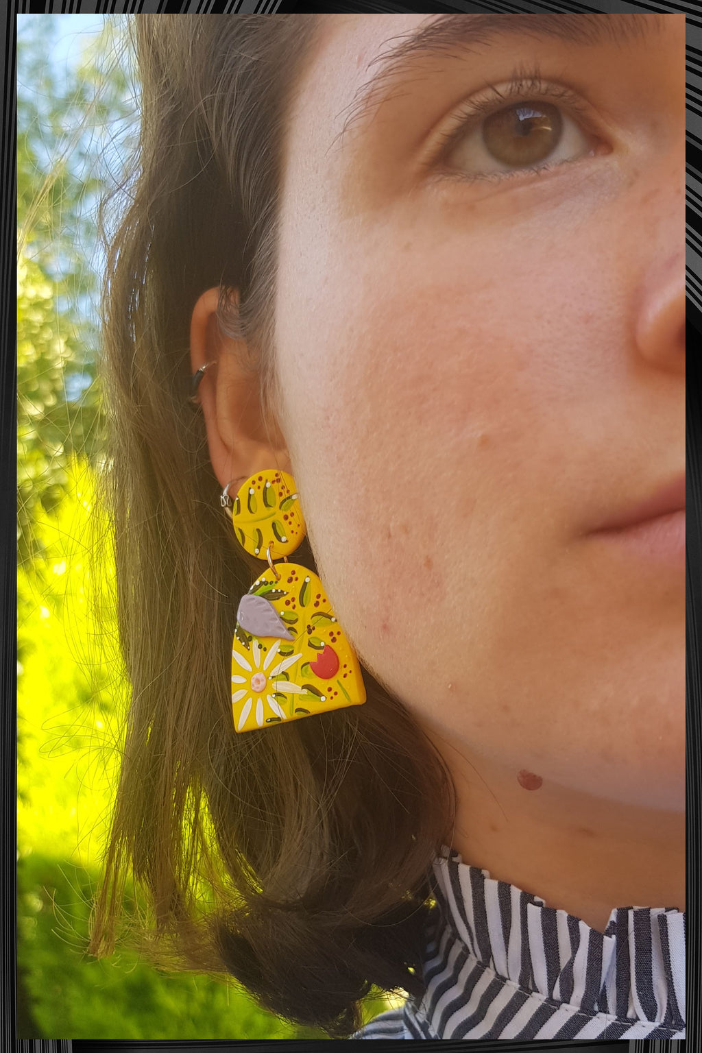 Bright Yellow Arch Earrings | Free Delivery - Quick Shipping